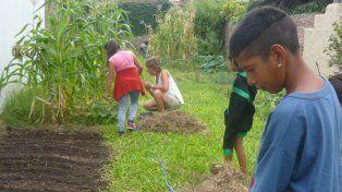 Manos a la tierra. Con la huerta aprenden y producen para el consumo familiar.