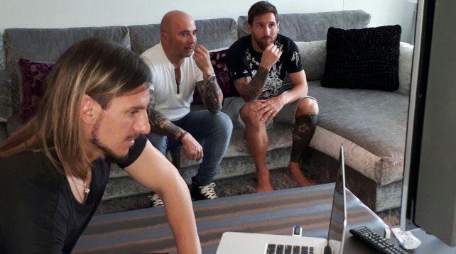 Sampaoli se reunió con Messi y Mascherano