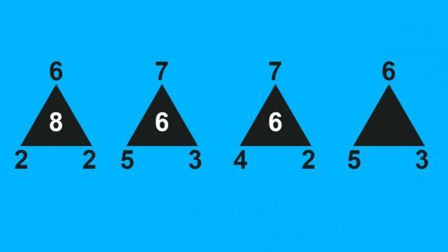 ¿Qué número falta en el último triángulo?