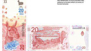 Ficha técnica: así es el nuevo billete de 20 pesos