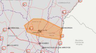 Renovaron el alerta por tormentas fuertes en la ciudad de Santa Fe