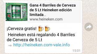 Alerta virus: Advierten sobre un mensaje de whatsapp que ofrece cerveza gratis