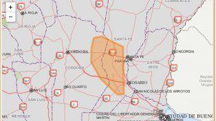 Rige un alerta a corto plazo que abarca a la ciudad de Santa Fe