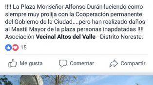 Se robaron parte del mástil de la plaza de Altos del Valle