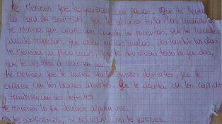 La carta que leía por las mañanas Ailín antes de que su ex novio la asesinara