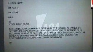 El último mensaje del submarino ARA San Juan antes de perder contacto