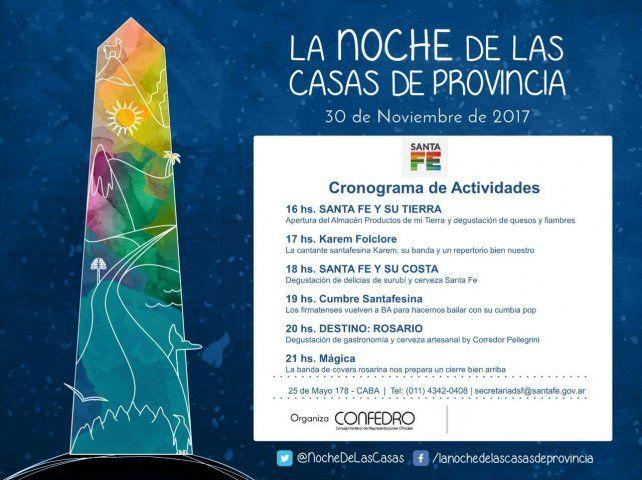 Santa Fe mostrará sus cualidades en la Noche de las Casas de Provincias