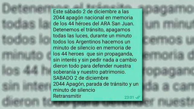 Convocan a un apagón en homenaje a los 44 héroes del ARA San Juan