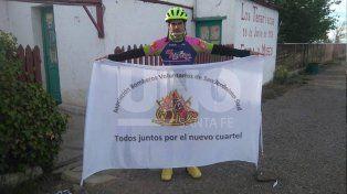 Une el país en bici para que los bomberos voluntarios de San Jerónimo Sud tengan un cuartel nuevo