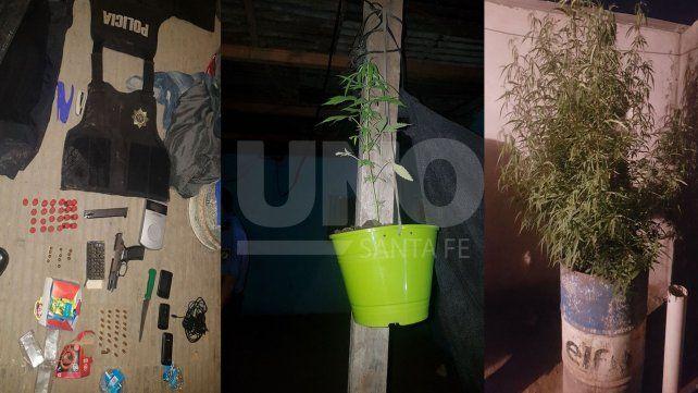 Los atraparon con un arma, balas de guerra y un jardincito de plantas de marihuana