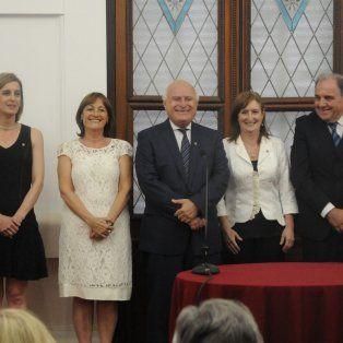 Acto. Hynes, Ciciliani, Lifschitz, Uboldi y Morini, luego de la jura.