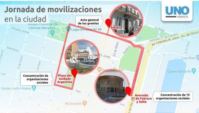 Marcha y movilización: ¿Qué sectores paran este lunes en la ciudad Santa Fe?