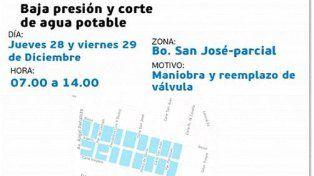 Anuncian baja presión y corte de agua en Bº San José