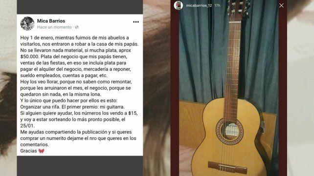 Rifa su guitarra para ayudar a sus padres porque el 1º les robaron todo