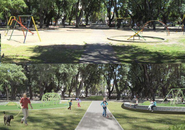 Imagen. Otra comparación de cómo está la plaza en la actualidad y cómo quedaría luego de la puesta en marcha del proyecto de remodelación.
