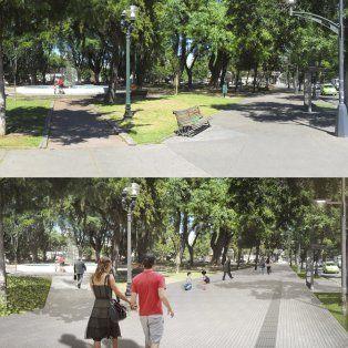 Imagen. Arriba la plaza en la actualidad, abajo como quedaría luego de la puesta en marcha del proyecto de remodelación.