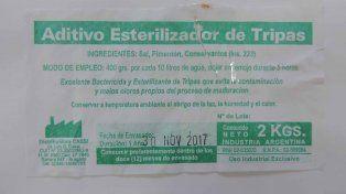 La Assal prohibió un aditivo esterilizador de tripas