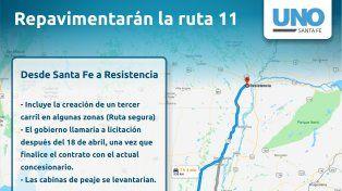 Ruta 11: la repavimentarán y en algunos tramos habrá un tercer carril