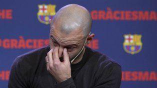 Los compañeros del Barsa le dieron una emotiva despedida a Mascherano