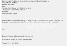 La respuesta que recibió Sabrina por parte de la presidencia de la Nación.