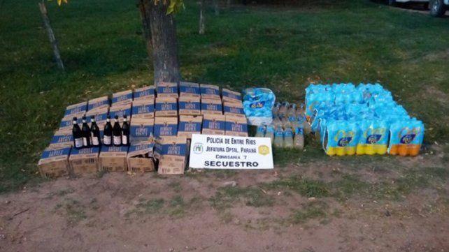Dos personas fueron detenidas tras robar cajas de fernet y agua saborizada
