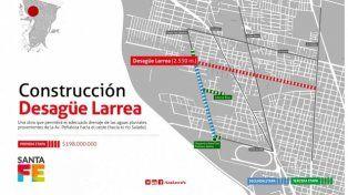 Avanza la construcción del desagüe Larrea