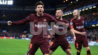 messi rompio el maleficio ante chelsea y marco el empate para barcelona