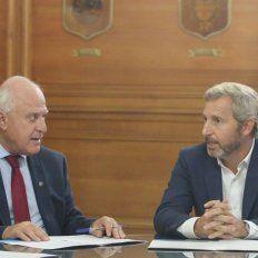 Deuda de coparticipación. Lifschitz junto a Frigerio, que se comprometió a acercar una propuesta para el pago en los próximos días.