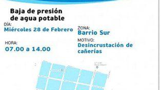 Habrá baja presión en los barrios San José, Pompeya y Sur