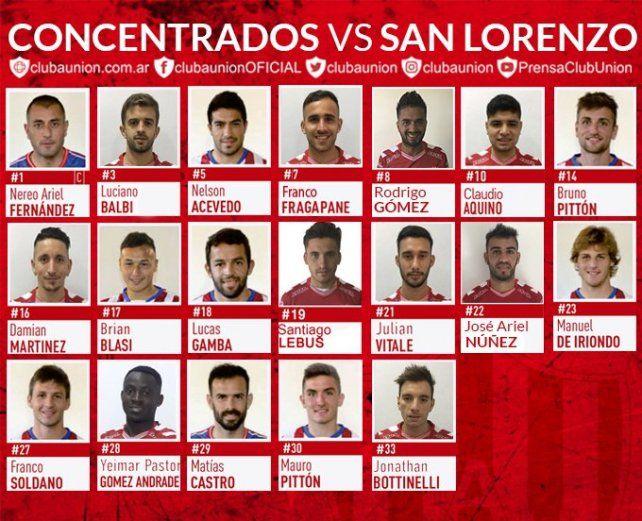 Los concentrados de Unión para jugar ante San Lorenzo