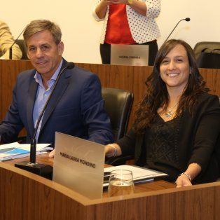 Los concejales Emilio Jatón y Laura Mondino (FPCyS).