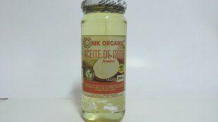 La Assal prohibió el producto alimenticio rotulado como Mk Organic, aceite de coco neutro