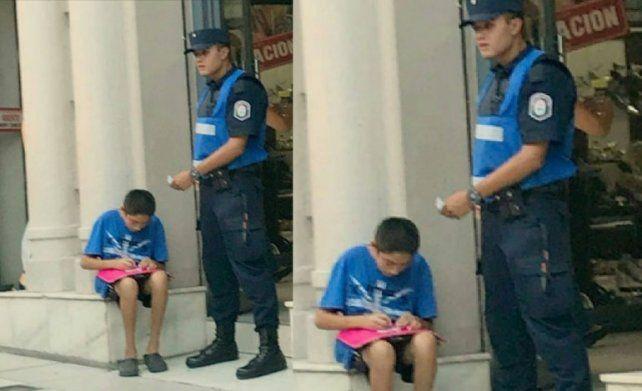 Un policía ayuda a estudiar a un nene y emociona a todos