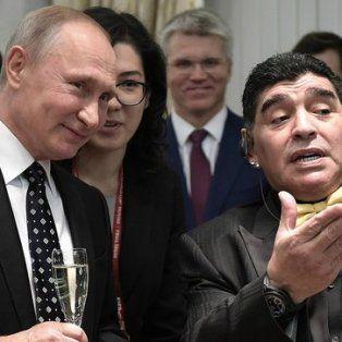maradona felicito a putin tras su victoria en las elecciones de rusia