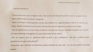 Esta es la carta enviada a Presidencia de la Nación.