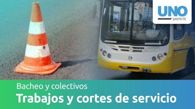 Cortes y desvíos de tránsito por bacheo y cambio de recorrido de colectivos