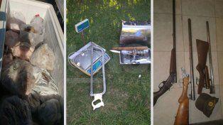Secuestraron armas, cartuchos y cortes de carne no aptos para consumo humano