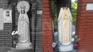 El antes y el después. La virgen a la izquierda recién restaurada