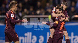 Lionel Messi marcó tres goles para su 9º título local en Barcelona