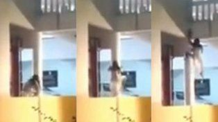 Una mujer poseída trepa paredes y genera terror en las redes