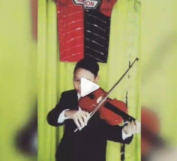 El niño prodigio del violín saludó a los sabaleros en su día