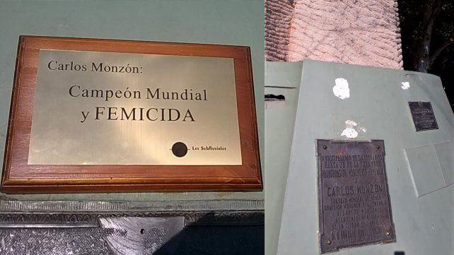 Campeón mundial y femicida, la placa que arrancaron del monumento a Monzón