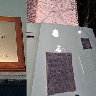 campeon mundial y femicida, la placa que arrancaron del monumento a monzon