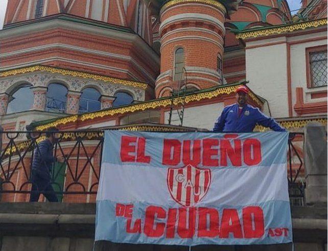 Los hinchas de Unión junto a la Selección en Rusia