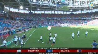 Así entraba la Selección Argentina a la cancha para realizar el precalentamiento
