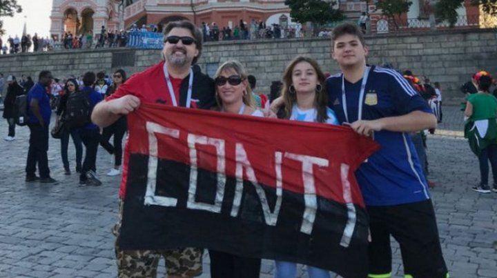 Los hinchas de Colón apoyando a Argentina en el Mundial