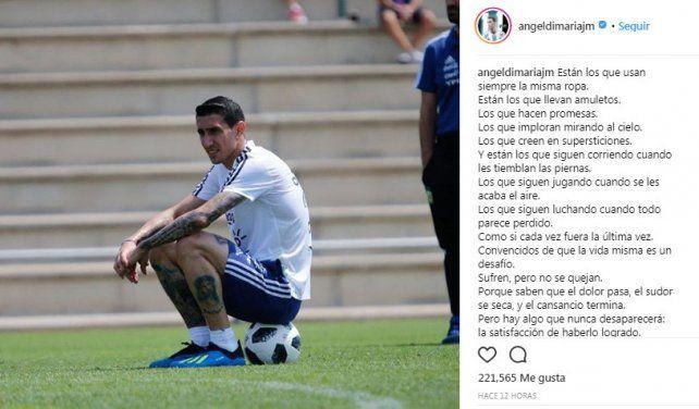 Di María y Rojo hicieron catarsis en Instagram al peligrar sus puestos
