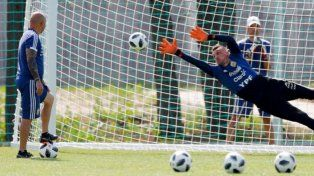 La Selección argentina ensayó penales