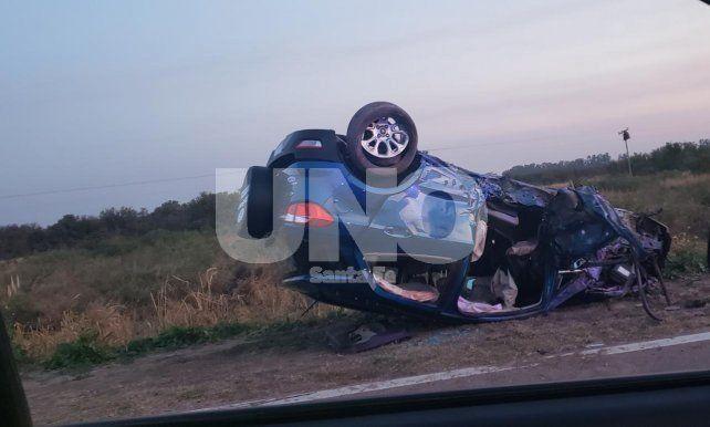 Violento choque con vuelco fatal al sur de Tostado