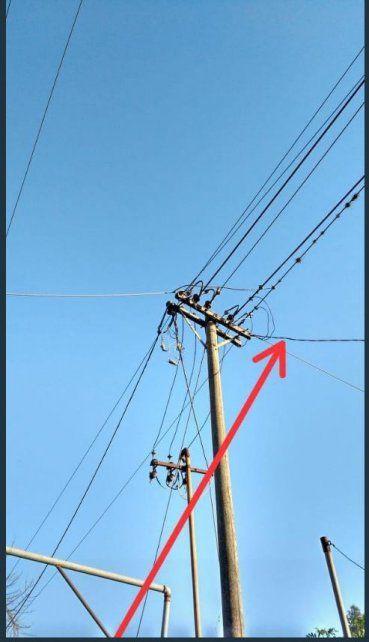 Bajada. El cable que tendría conexión directa a las instalaciones